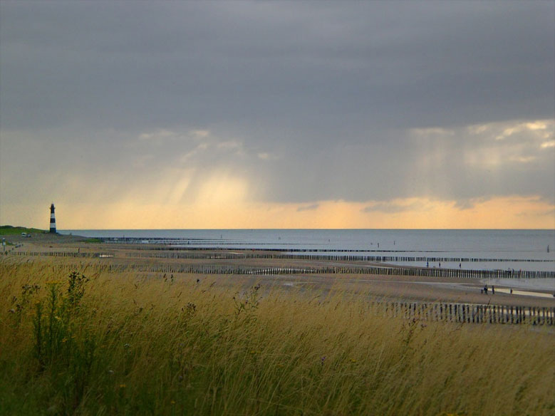 Strand mit dem Leuchtturm von Breskens in Zeeland