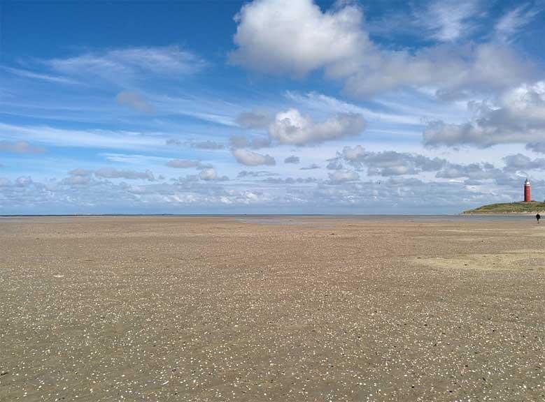 Der Strand im Norden der Insel Texel bei Ebbe